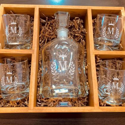 Personalize Decanter set with whisk..