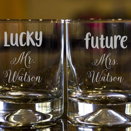 Personalize Rock glass, Engraved Wh..