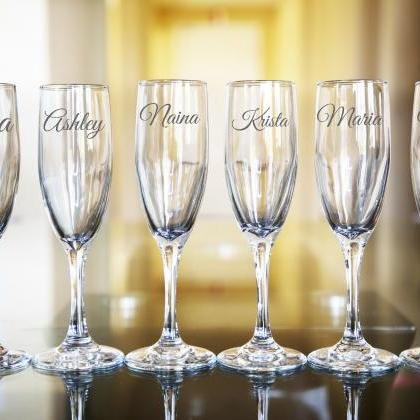 Set of 6 Wedding champagne flues, p..