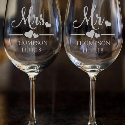 Mrs. wine glasses,Personalize wine ..