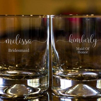 Personalize Rock glass,Engraved Whi..