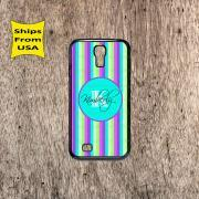 Stripe Pattern Monogram Samsung Galaxy S4 Case, Samsung Galaxy S4 Cover, Monogram Galaxy S4 Cases, Cute Samsung Galaxy S4 Case