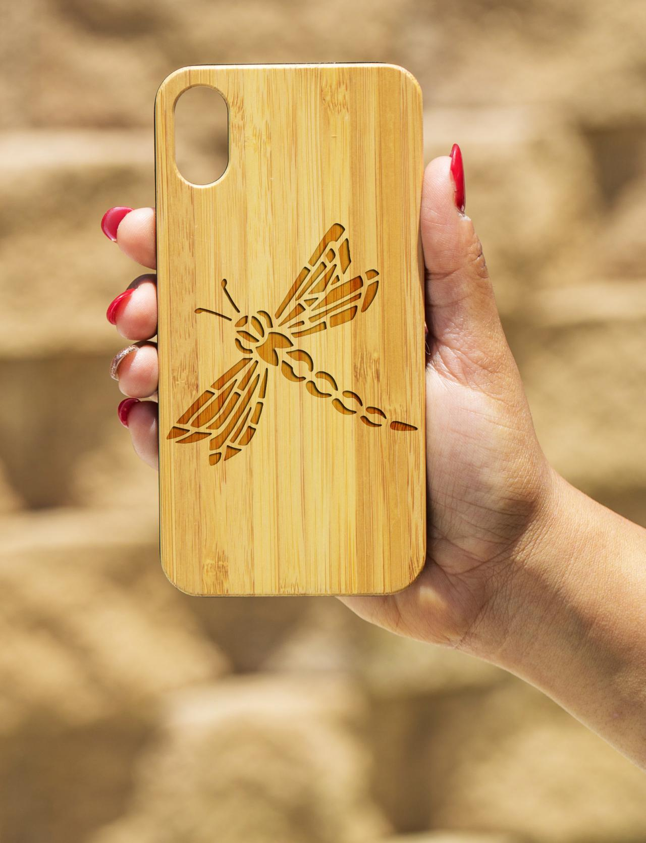 Dragon Fly IPhone X Case, Engraved Iphone X case, Wooden Engraved Iphone X Case, Iphone case, Beautiful Gift for here, unique, dragonfly