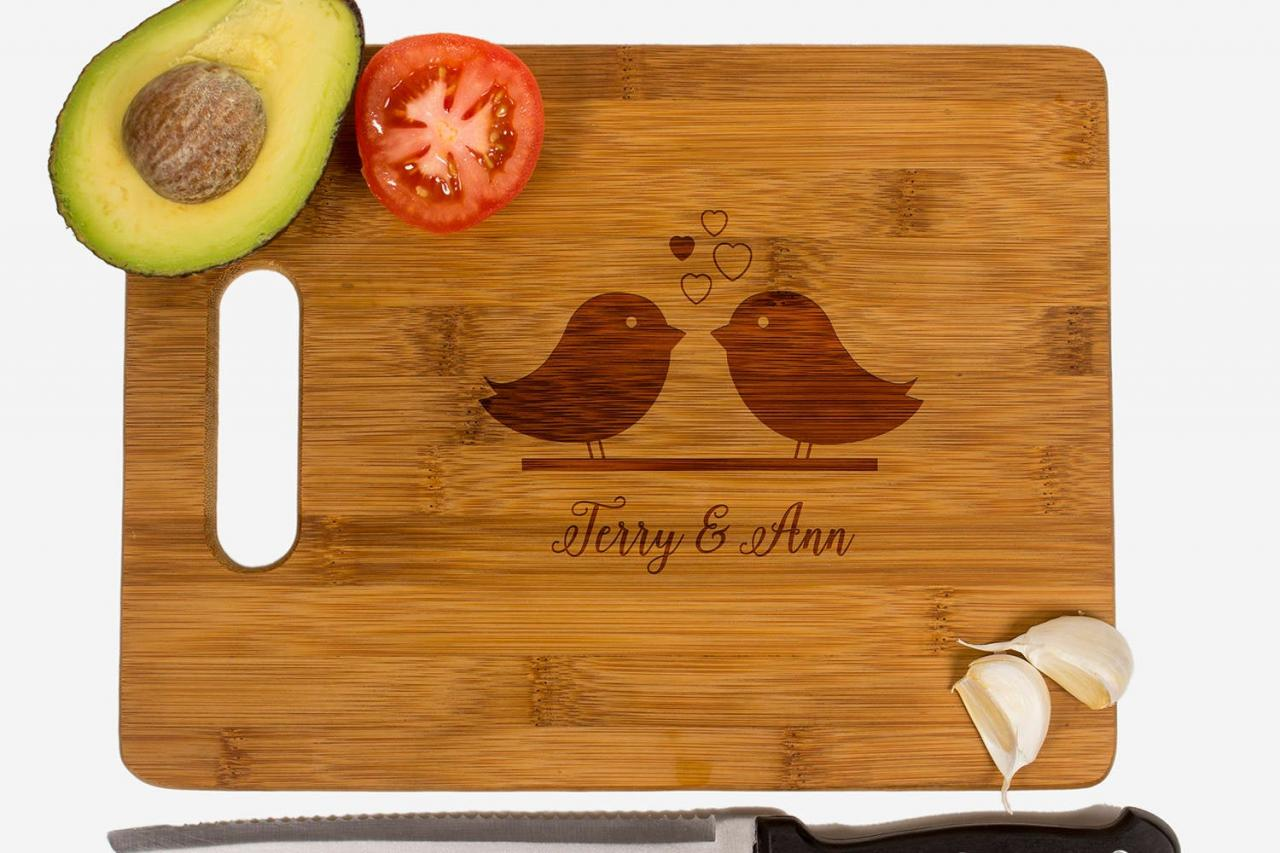 Personalized cutting board, Wedding Gift, Kitchen Decor, Housewarming Gift, Love Birds Engraved Cutting Board, Anniversary Gift