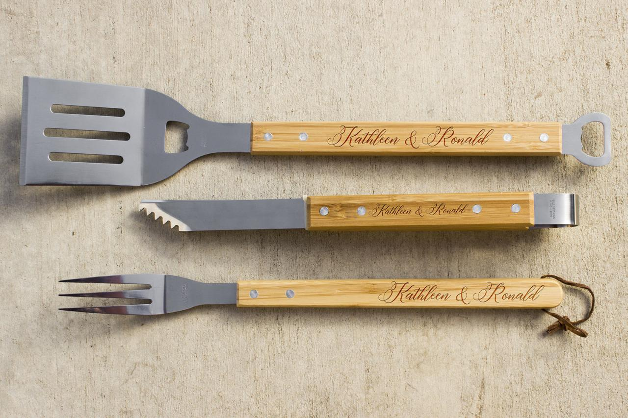 Personalized BBQ Set, Personalized BBQ tool set, Unique BBQ Grill Set, Couple Name Engraved Barbecue Set, personalized grill set