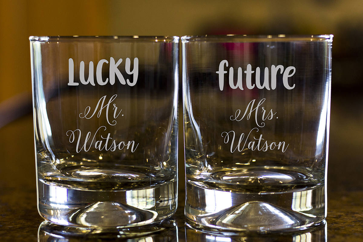 Personalize Rock glass, Engraved Whiskey glasses, Couple Whiskey glasses, Bourbon Glasses, Etched Scotch glasses,Future Mrs. Scotch glasses
