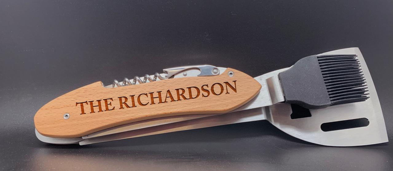 Last Name Engraved BBQ Set, Personalized BBQ tool set, Gift for Grandpa, personalized grill set for Dad, Father's Day Gift, Gift for Dad