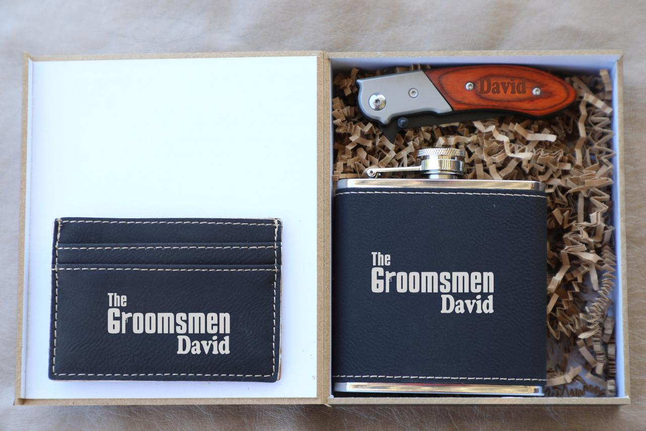 The Groomsmen gift set, Groomsman gift set,Personalize Groomsmen Gift set,Engraved gift set,Groom's Crew gift set, Custom Groom set