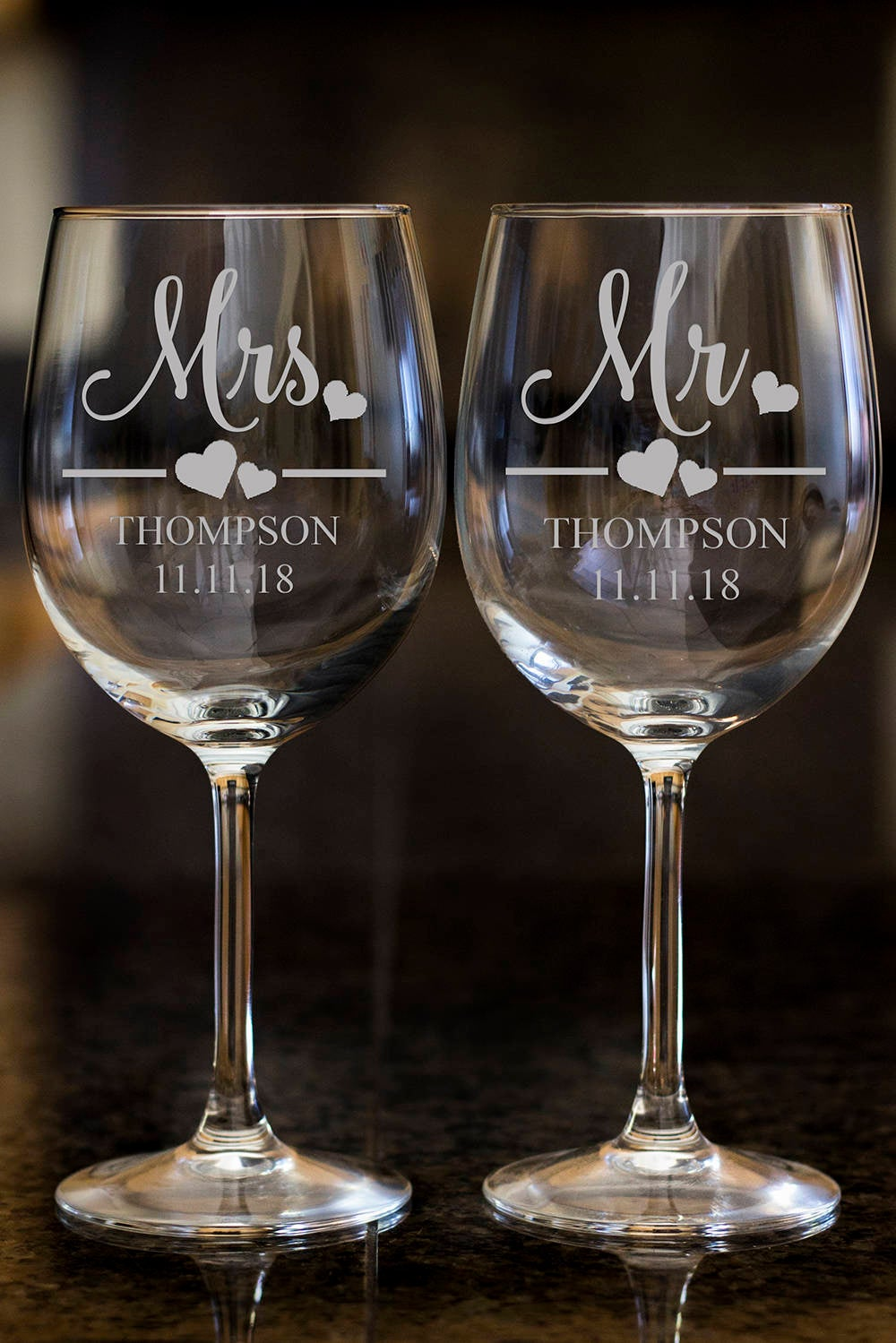 Mrs. wine glasses,Personalize wine glasses,Engraved wine glasses, etched Wine glasses,wedding gift, Bachelor party, customized family name