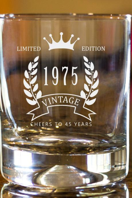 45th Birthday Etched Whiskey Rocks Glass - Vintage Limited Edition Bourbon Scotch Old Fashioned Snifter Glass 1975 Birth year customized