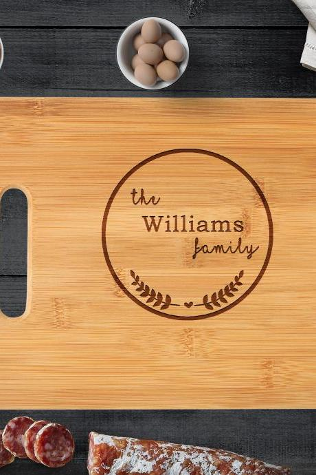 Personalized Wedding Gift, Custom Engraved Wood Cutting Board, Family Name With Border, Anniversary Gift, Bridal Shower Gift, Hostess Gift