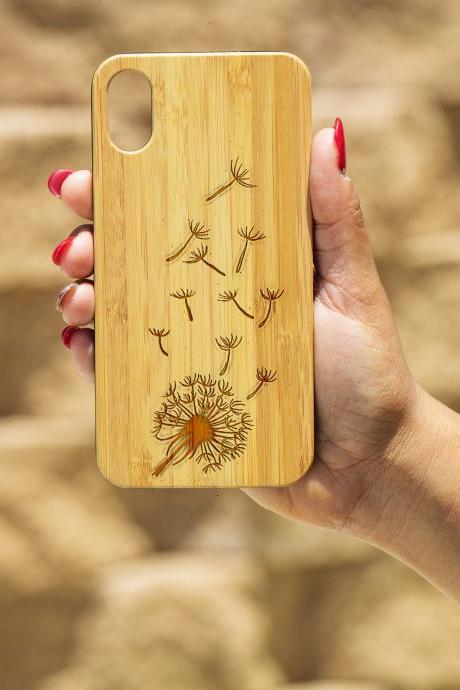 Dandelion IPhone X Case, Engraved Iphone X case, Wooden Engraved Iphone X Case, Iphone case, Beautiful Gift for here, unique,beautiful
