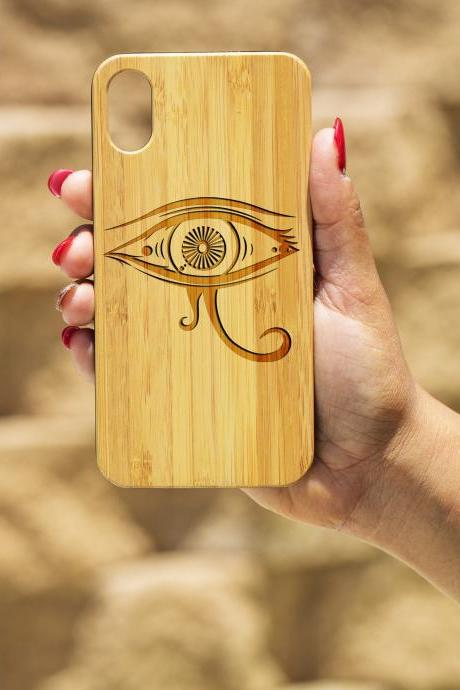 Egyptian Eye IPhone X Case, Engraved Iphone X case, Wooden Engraved Iphone X Case, Iphone case, Beautiful Gift for here, unique