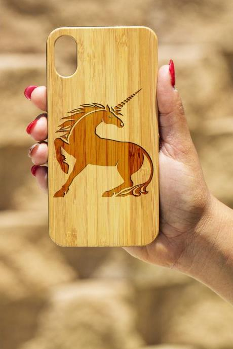 Unicorn IPhone X Case, Engraved Iphone X case, Wooden Engraved Iphone X Case, Iphone case, Beautiful Gift for here, unique case, girly