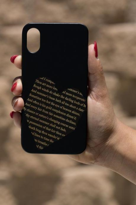 Sekspir sonnet 18 IPhone X Case, Engraved Iphone X case, Wooden Engraved Iphone X Case, Iphone case, Beautiful Gift for here