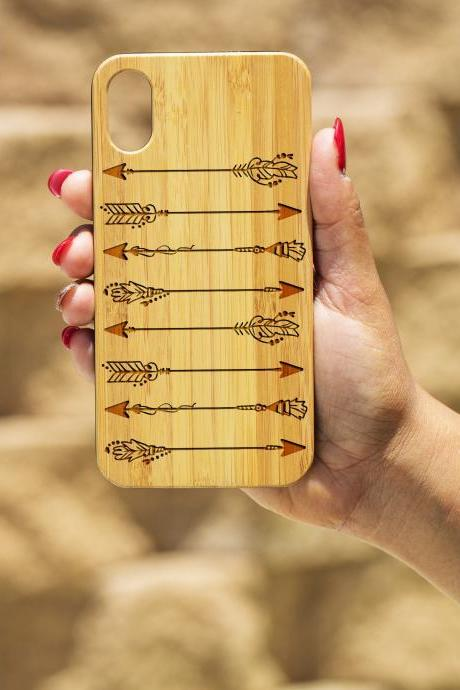 Arrow IPhone X Case, Engraved Iphone X case, Wooden Engraved Iphone X Case, Iphone case, Beautiful Gift for here,unique case