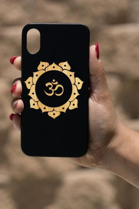 OM IPhone X Case, Engraved Iphone X case, Wooden Engraved Iphone X Case, Iphone case, Beautiful Gift for here,unique case,