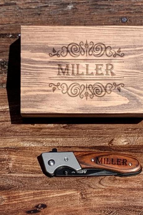 Personalize hunting knife with box,Personalize Knife,Groomsman Knife,Groomsman gift,Wedding Favor,Pocket Knifes,Gift for Father,Gift for him
