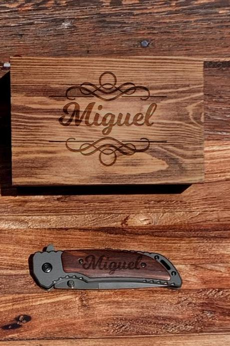 Engraved Pocket knife with box, Personalize Knife,Groomsman Knife,Groomsman gift,Wedding Favor, Hunting Knifes,Gift for Father,Gift for him