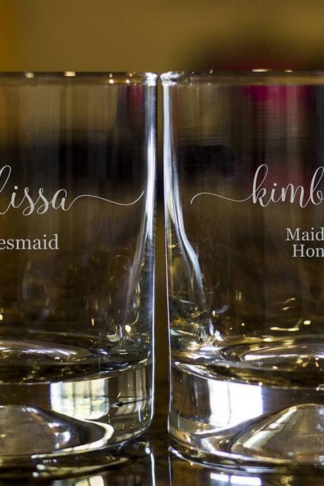 Personalize Rock glass,Engraved Whiskey glasses,Bridesmaid Whiskey glasses,Bourbon Glasses, Etched Scotch glasses,Maid of honor scotch glass