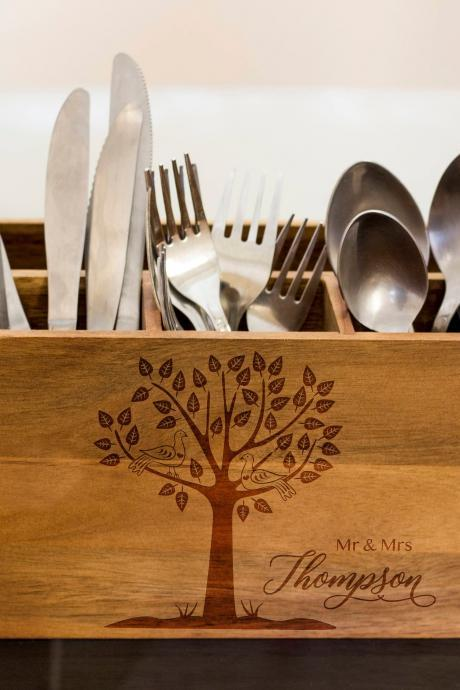 Love tree Silverware Caddy, kitchen Utensil Holder,Personalize Kitchen Stuff, Picnic Caddy,kitchen tool holder, housewarming Gift, custom