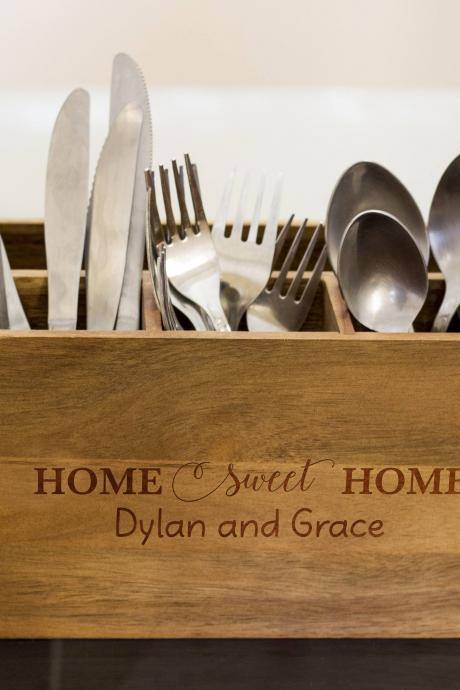 Home sweet home Silverware Caddy, kitchen Utensil Holder,Personalize Kitchen Stuff, Picnic Caddy,kitchen tool holder, housewarming Gift