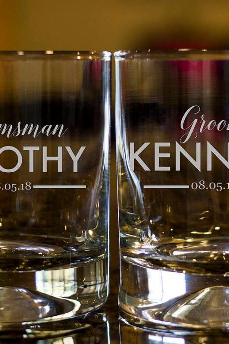 Personalize Rock glass, Engraved Whiskey glasses, Groomsman Whiskey glasses, Bourbon Glasses, Etched Scotch glasses, Scotch glasses,