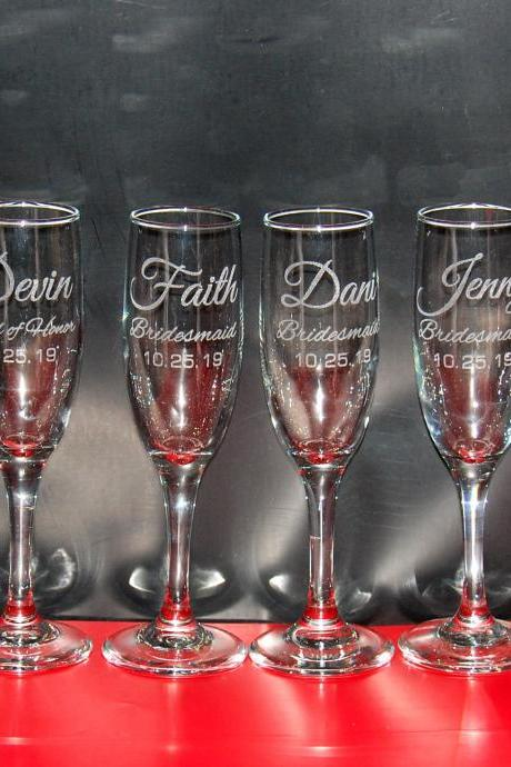 Set of 12 champagne flues, personalized names wedding toasts, Wedding Champagne Flutes, Engraved Wedding Glasses,Custom