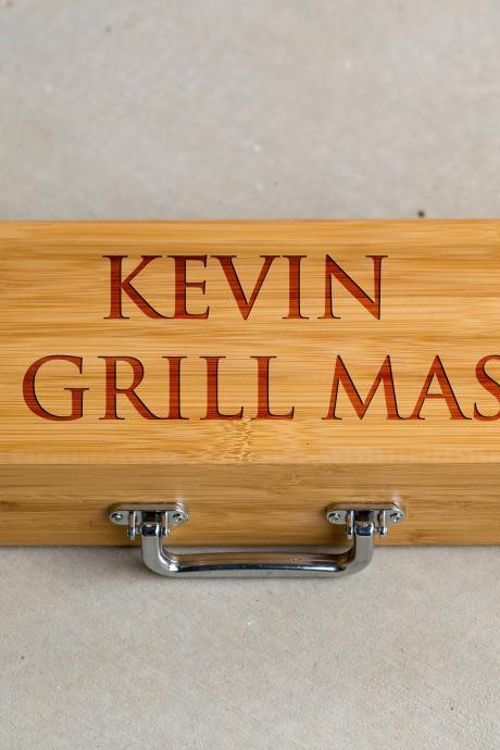 3 piece BBQ Grill Tool set,The grillmaster Grill set,BBQ tools, Grill tool set,gift for him, BBQ dad, Engraved grill ware,Grill master set