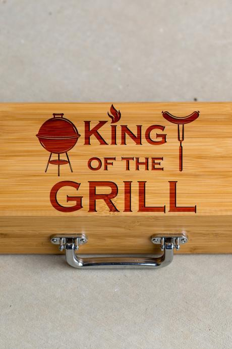 3 piece BBQ Grill Tool set, King of the Grill set, BBQ tools, Grill tool set, gift for him, BBQ dad, Engraved grill ware, Grill master set