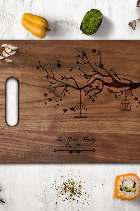 Love tree walnut Cutting board,wedding gift,newlyweds gift board,Couple Walnut cutting board,Kitchen Decor,Housewarming Gift,Engraved board
