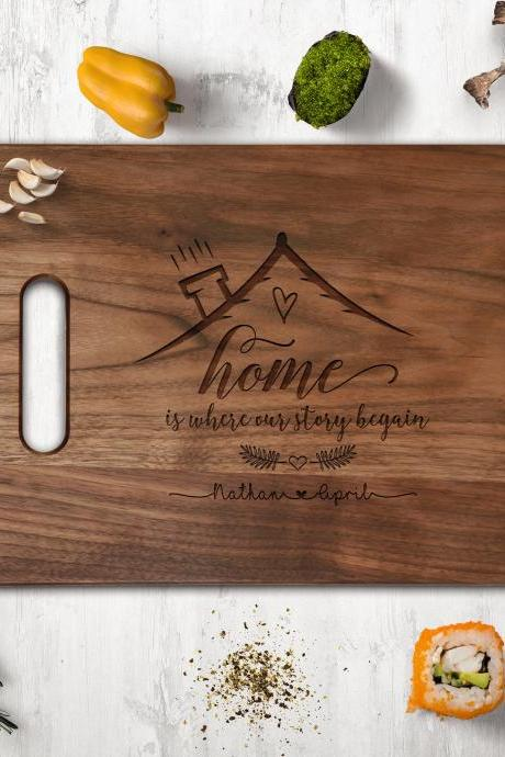 Realtor Cutting board, new house owner gift,newly weds gift board,Couple Walnut cutting board, Wedding Gift, Kitchen Decor,Housewarming Gift