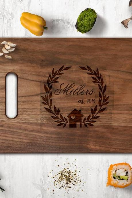 Couple Walnut cutting board, Wedding Gift, Kitchen Decor,Housewarming Gift,Realtor Cutting board, new house owner gift,newly weds gift board