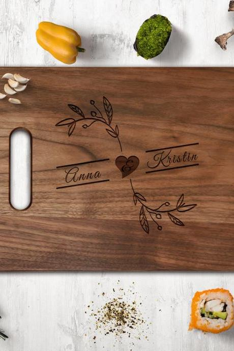 Couple name Walnut cutting board,Wedding Gift,Kitchen Decor,Housewarming Gift,Couple Cutting Board, Chopping board,Personalize cutting board