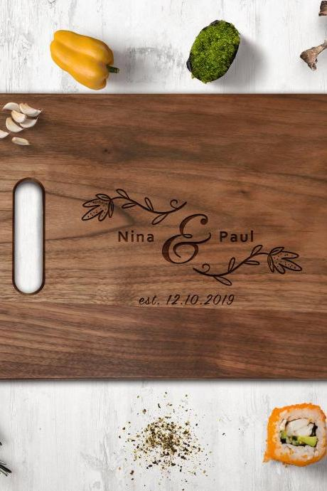 Couple Walnut cutting board, Wedding Gift, Kitchen Decor,Housewarming Gift,Couple Cutting Board, Chopping board,Personalize cutting board