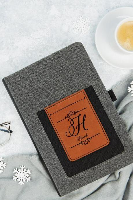 Personalized leather Journal, Monogram Journal, Initial Design Engraved journal book, wedding Journal, Travel Journal,Minimalist Journal