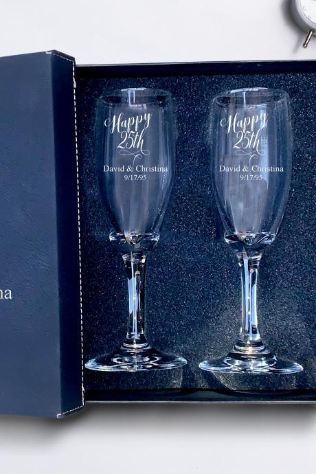 Set of 2 champagne flues, 25th anniversary Champagne glass engraved,Wedding Champagne Flutes, Engraved Wedding Glasses,Custom