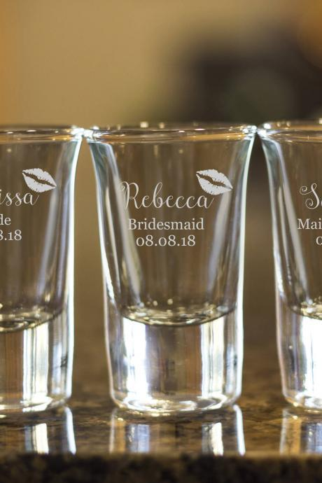 Bridesmaid shot glasses,customize shot glasses,wedding shot glasses,1.5 oz shot glass,wedding favor,bachelor party shot glass,set of 3 shot
