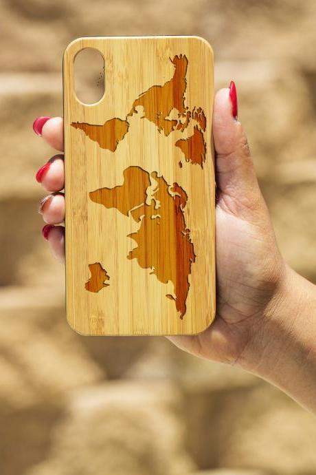 World Map IPhone X Case, Engraved Iphone X case, Wooden Engraved phone X Case, Iphone case, Beautiful Gift for here