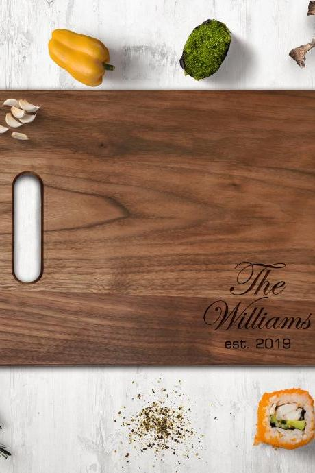 Family name Walnut cutting board, Wedding Gift, Kitchen Decor,Housewarming Gift,Couple Cutting Board, Chopping board,Engraved cutting board