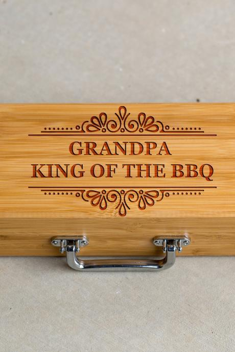 3 piece BBQ Grill Tool set,Grandpa king of grill Bbq set,BBQ tools,Grill tool set,gift for him, BBQ dad,Engraved grill ware,Grill master set