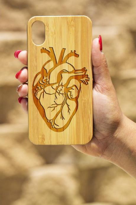 Anatomy Heart IPhone X Case, Engraved Iphone X case, Wooden Engraved Iphone X Case, Iphone case, Beautiful Gift for here, unique case, love