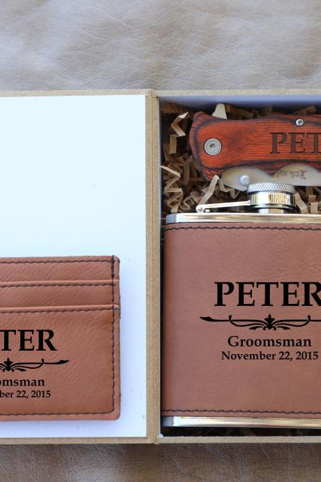 Monogramed name Groomsman gift set,Groomsman gift set,Personalize Groomsmen Gift set,Engraved gift set,Groom's Crew gift set,Custom gift set