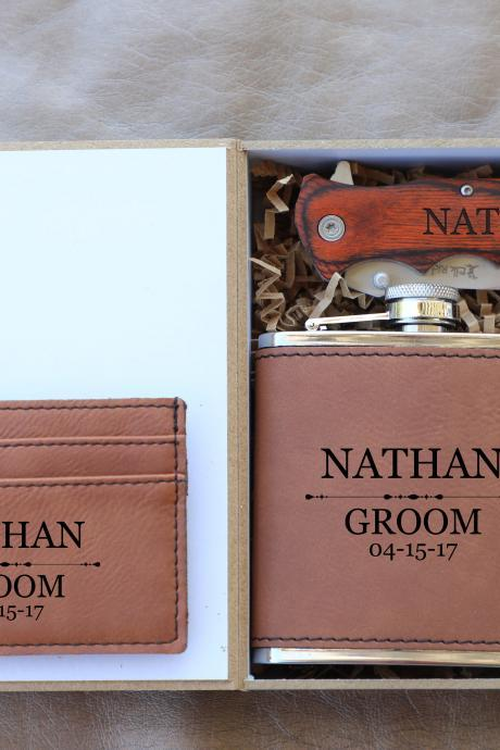 Groomsman Flask Gift box, personalize Groomsmen Flask Gift Box Set,Groomsmen Gifts, Knife for Groomsmen, Custom Wedding gift, Bachelor party