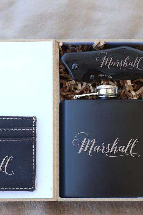 Groomsman Flask Gift Set, personalize Groomsmen Flask Gift Box Set,Groomsmen Gifts, Knife for Groomsmen, Custom Wedding gift, Bachelor party