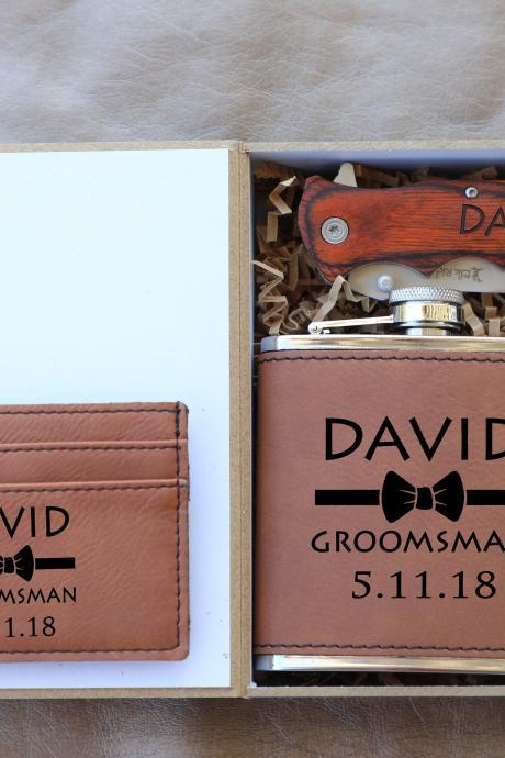 Engraved Groomsman Flask Gift Set, personalize Groomsmen Flask Gift Box Set,Groomsmen Gifts, Knife for Groomsmen, Wedding gift favors,groom
