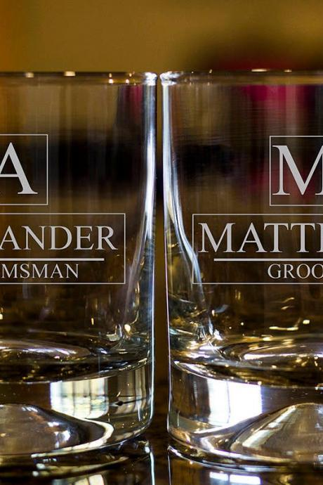 Personalize Rock glass, Engraved Whiskey glasses, Groom Whiskey glasses, Bourbon Glasses, Etched Scotch glasses, Groomsman scotch glass