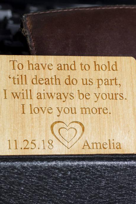 Wooden Wallet insert, Customized Wallet Insert, Custom Wallet Card, Wooden Wallet Insert Gift, Wooden Wallet Insert Card, Custom Engraved