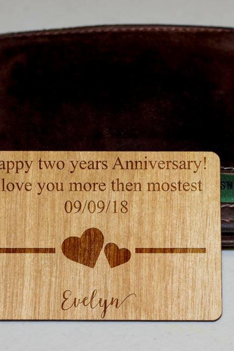 wooden wallet insert, customized wallet insert, custom wallet card, Wood Wallet, 5th Anniversary, Anniversary Wallet Card, Christmas gift