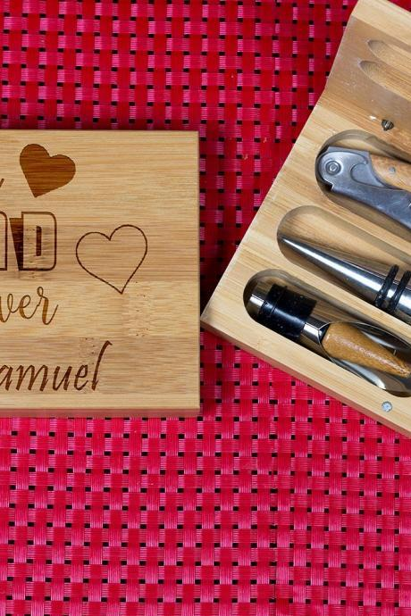 Engraved Wine opener set, Personalized Cork screw Set, Personalized Dad Engraved Wine Opener set, Wine Party Favor, Christmas Gift